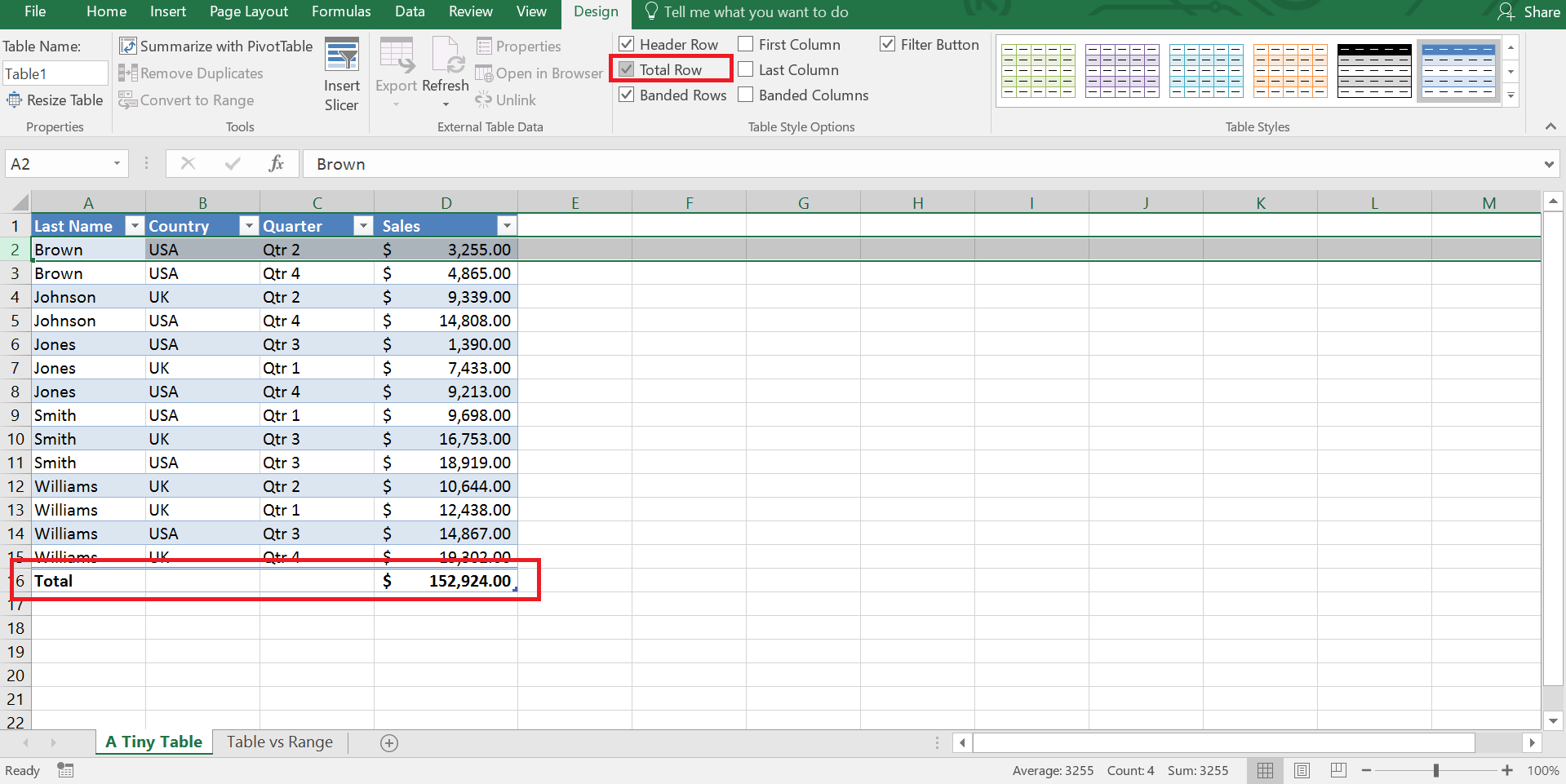 Adding Total Row to an Excel Table