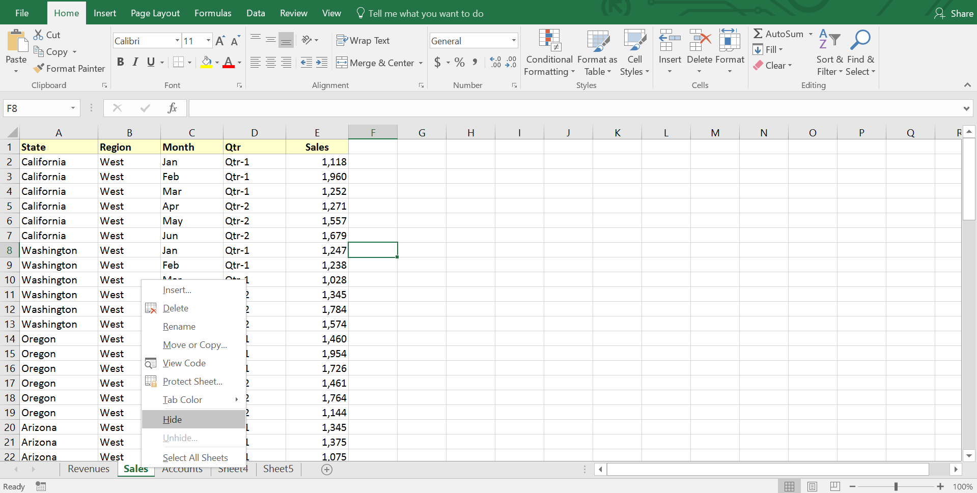 Hide an Excel worksheet