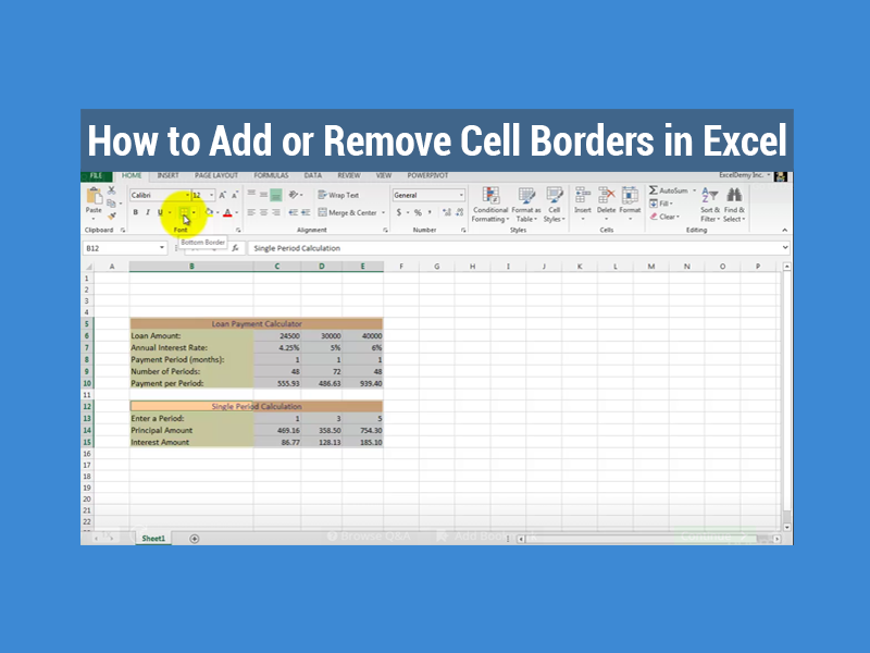 How To Add Or Remove Cell Borders In Excel Exceldemy