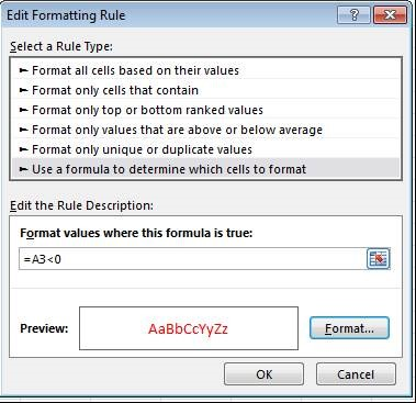Edit Formatting Rule dialog box in Excel