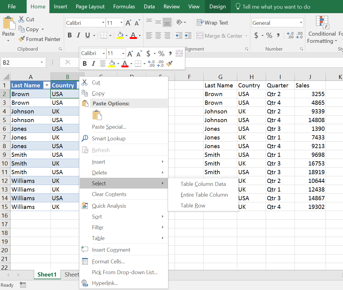 Selecting Excel table column with shortcut menu