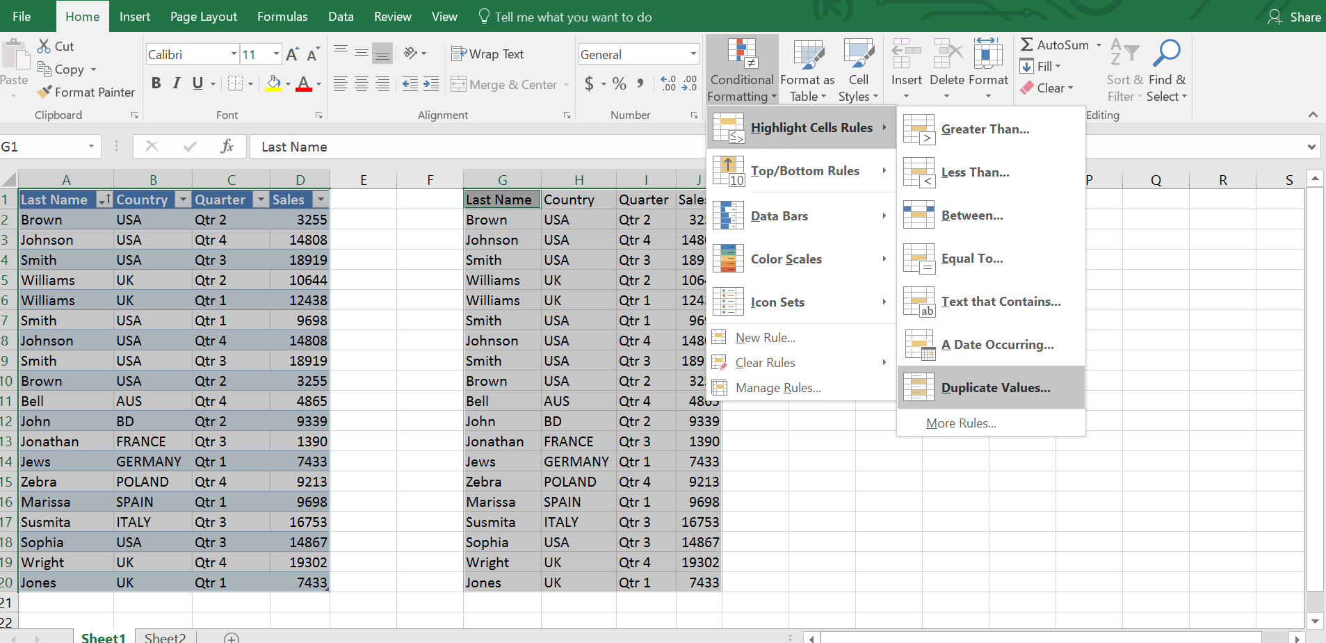 Finding duplicates using conditional formatting in Excel