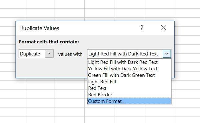 Duplicate values dialog box, custom formatting