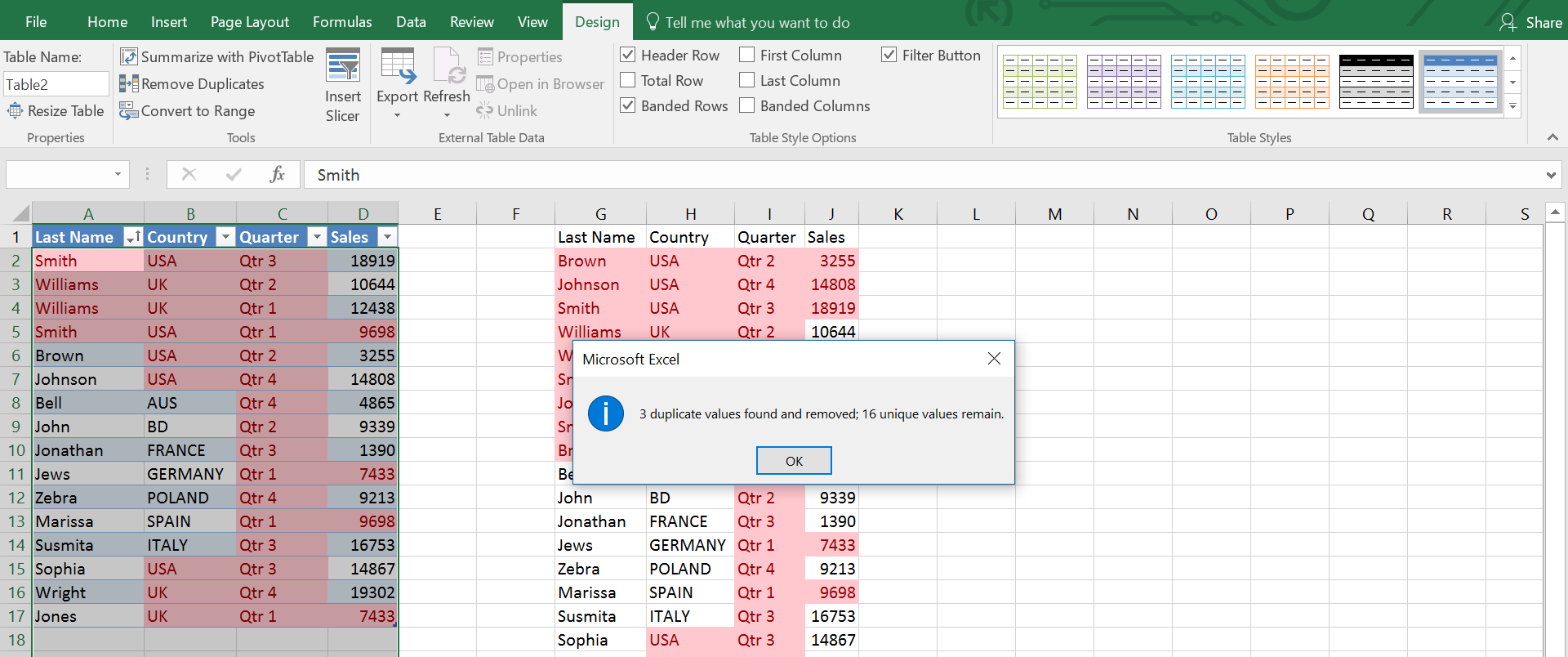 Microsoft Excel is showing how many duplicates have been removed with a message
