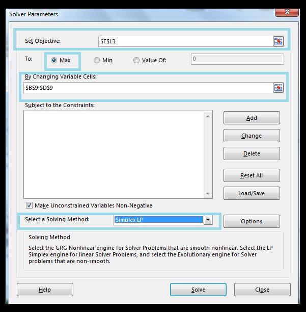 Solver Parameters dialog box, Excel