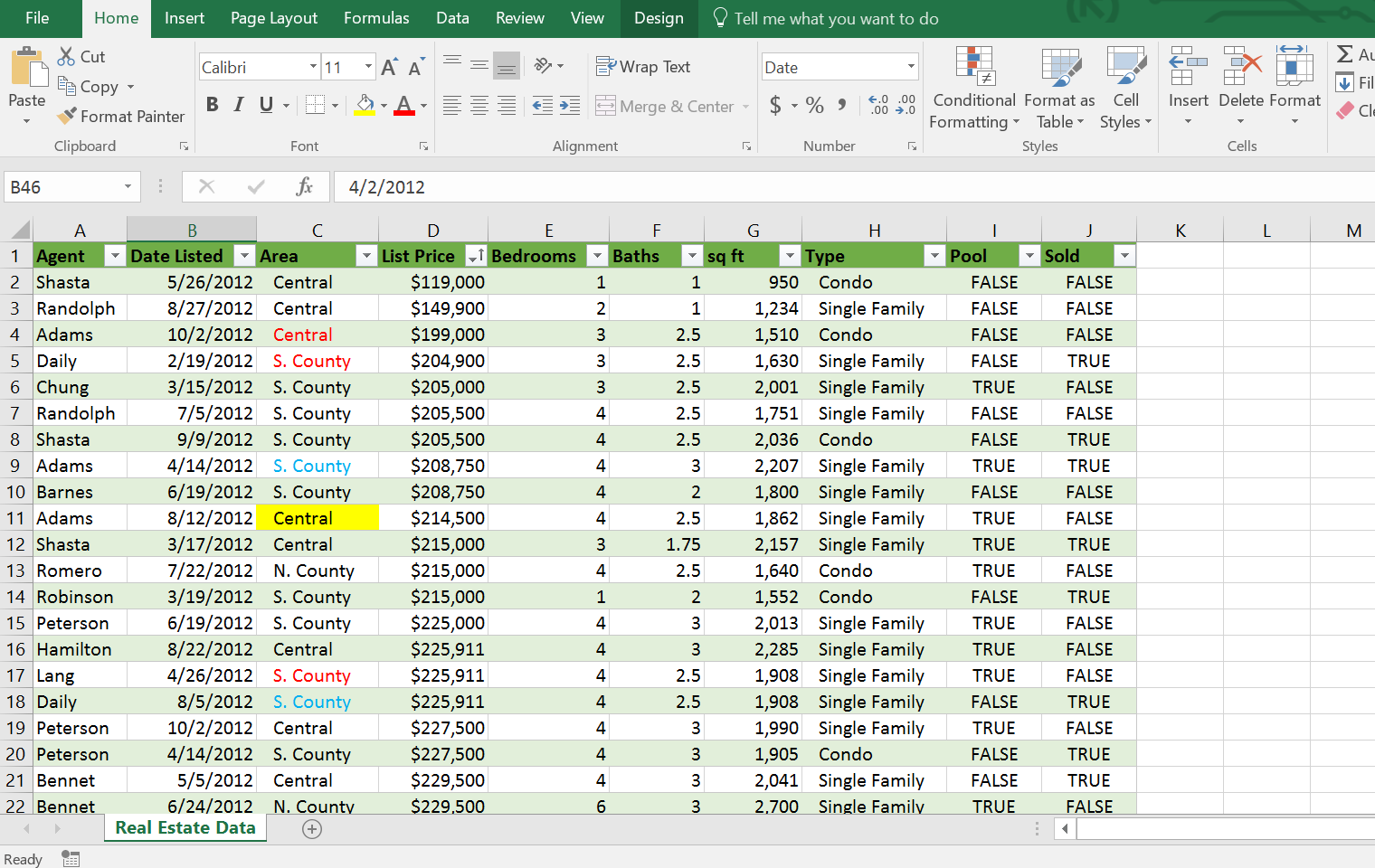 Filtered Excel Table