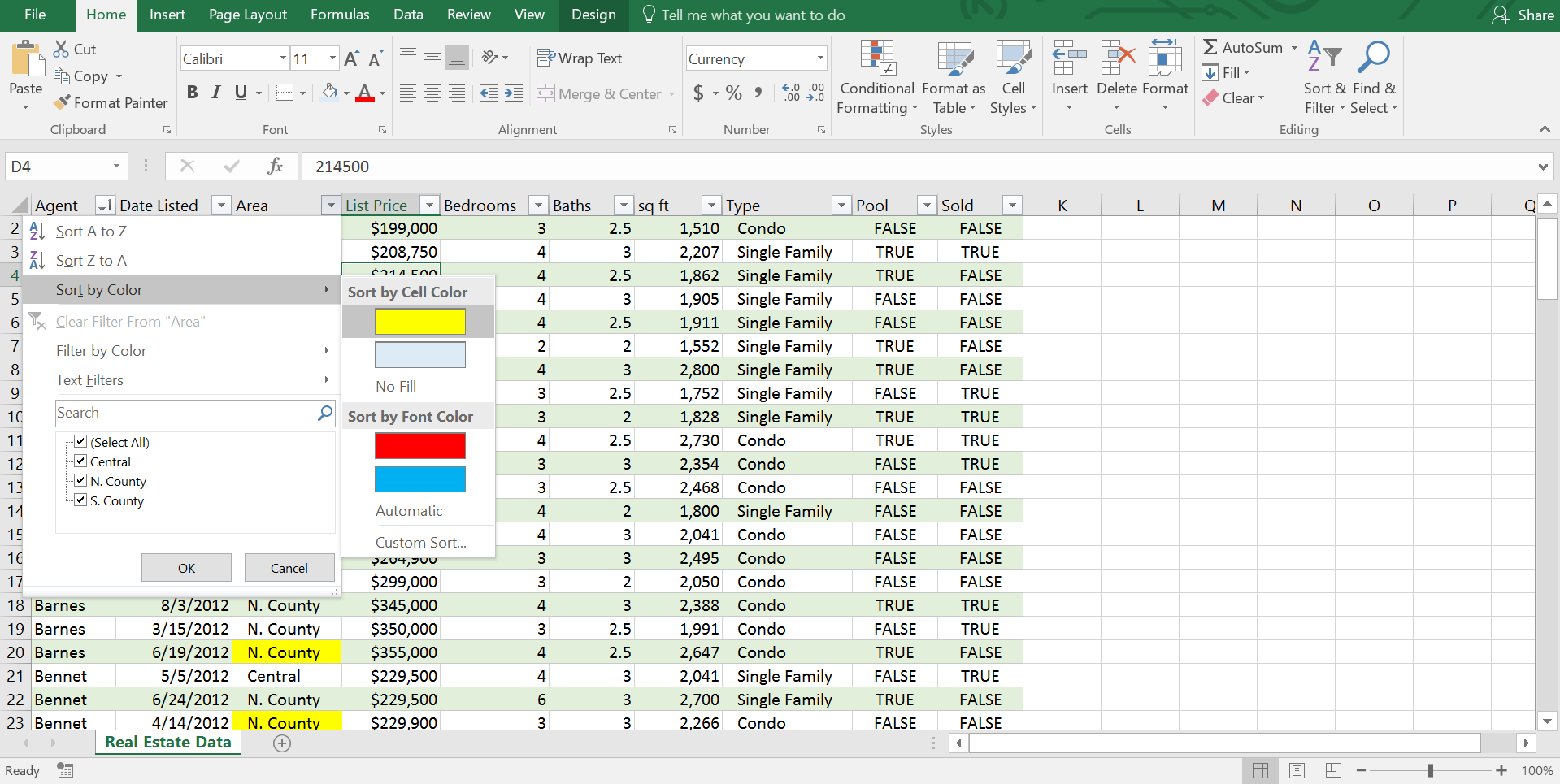 Sort an Excel Table by Color