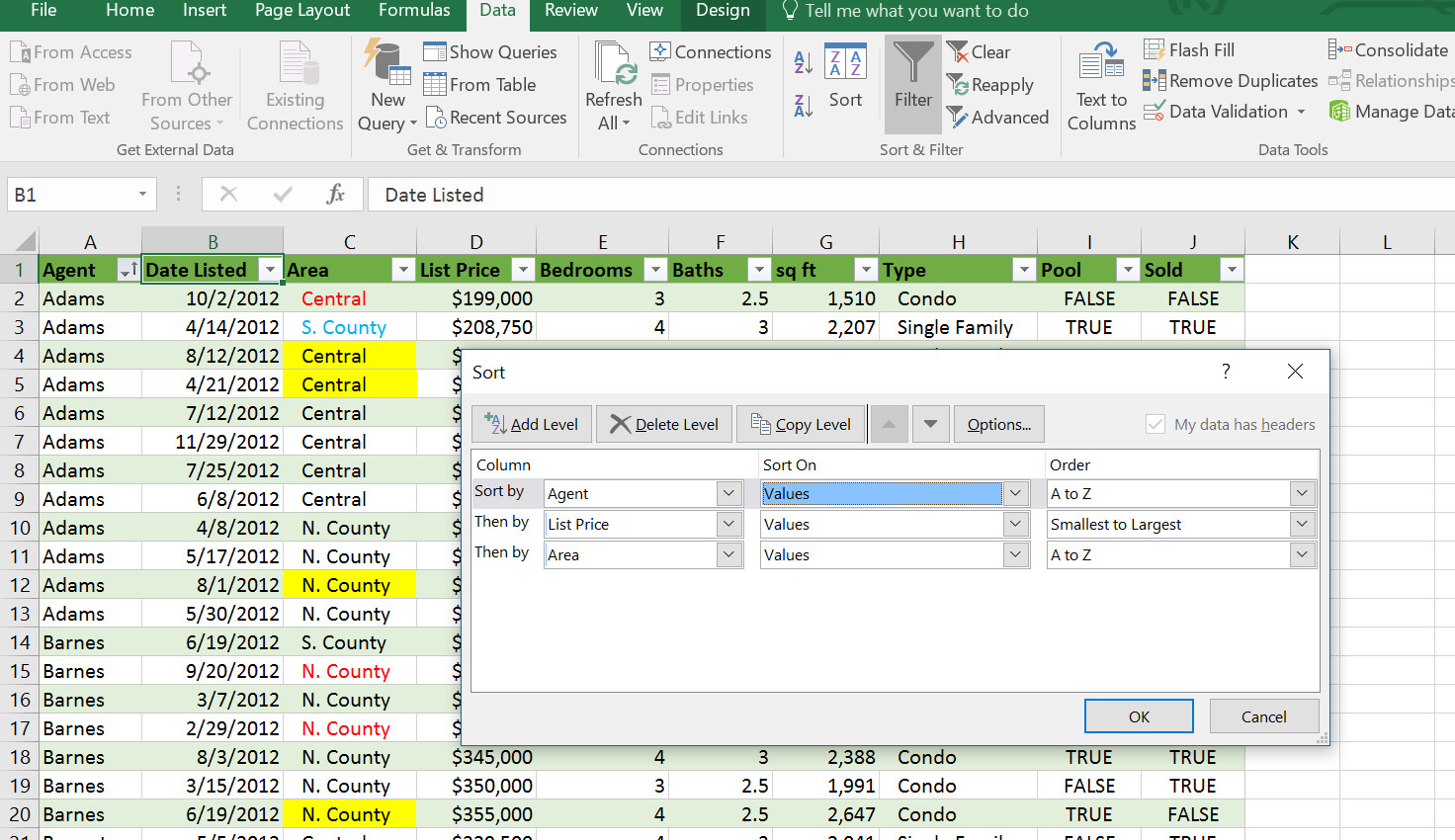 Sort dialog box, Excel Table