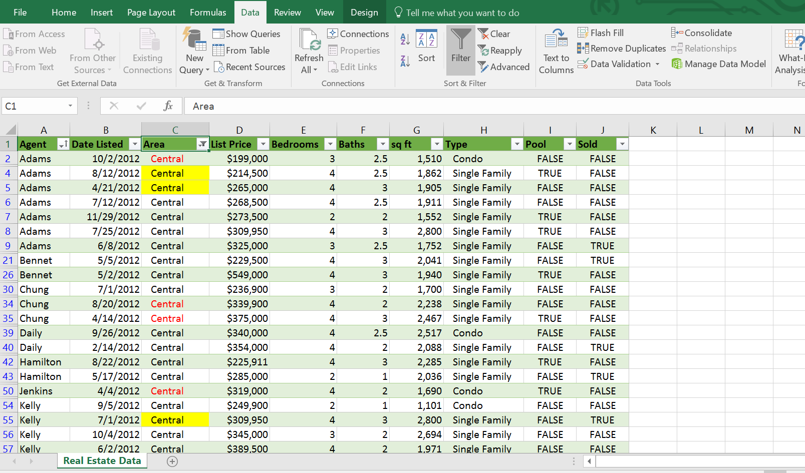 Filtering Excel table