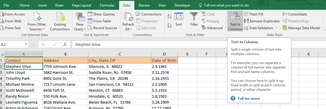 Text to Column feature in Excel