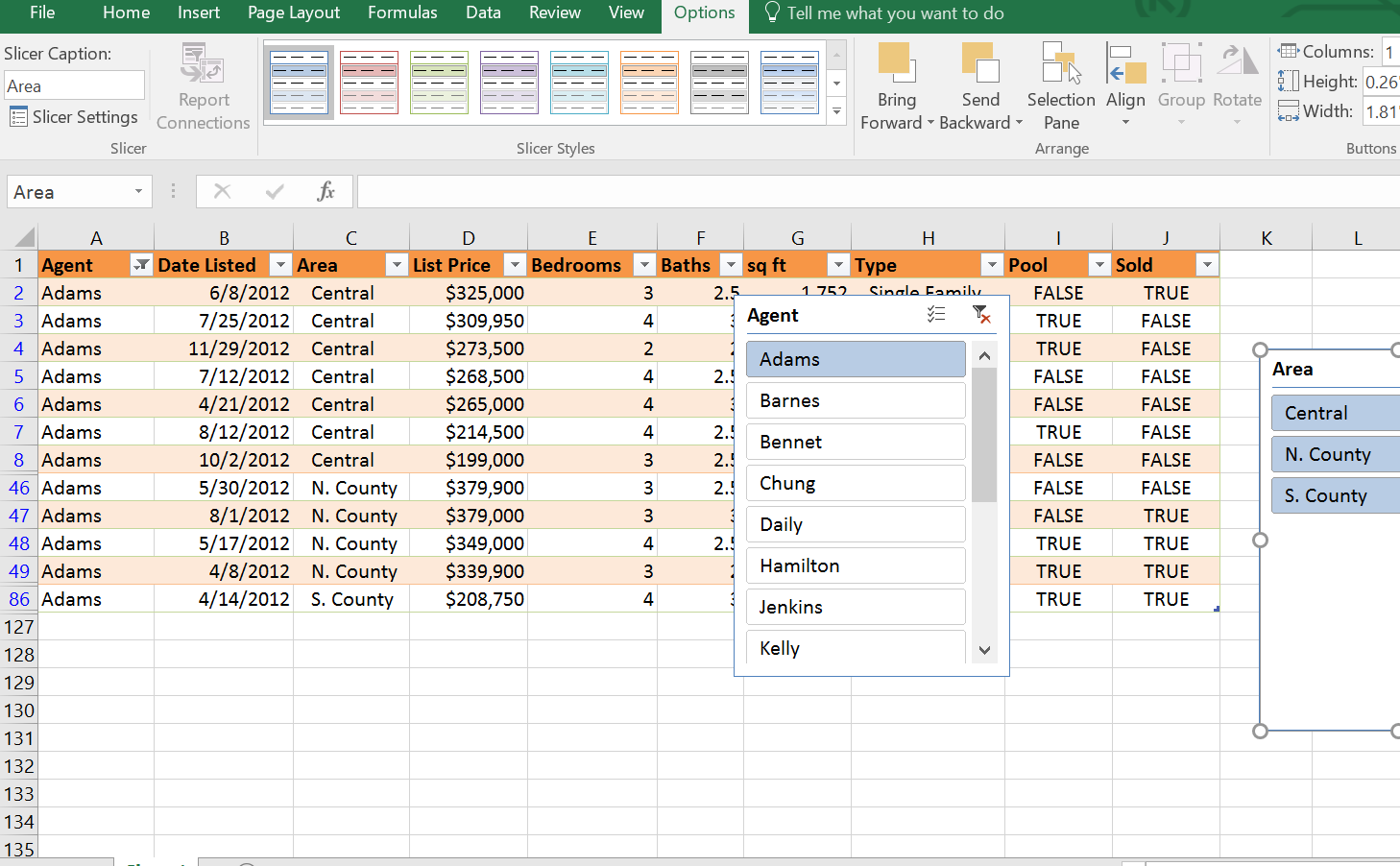 2 Slicers, Excel Table