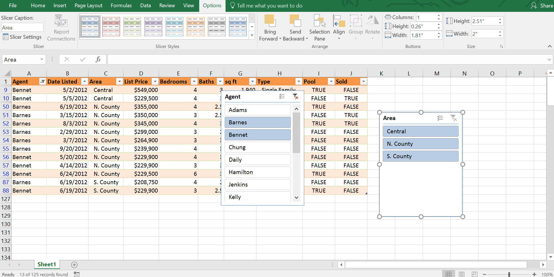Select more than one item in slicer, Excel Table
