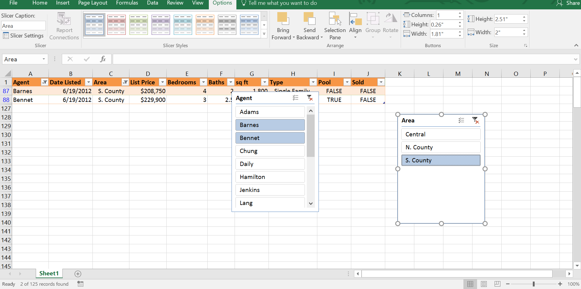2 Slicers, Filtered Excel Table