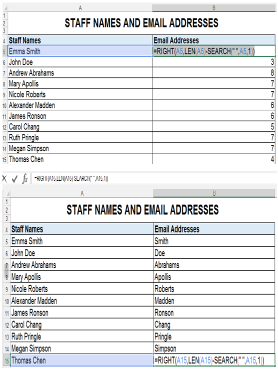 RIGHT LEN SEARCH Excel Functions
