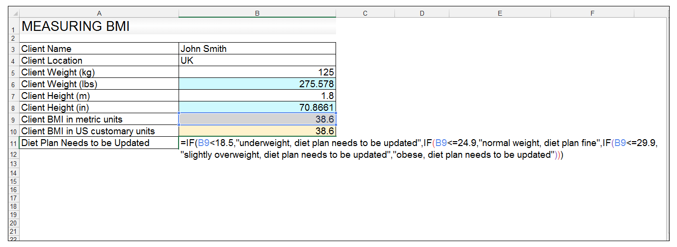How to Use the CONVERT Function in Excel and creating a BMI