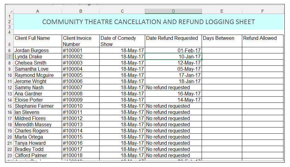 Community Theater Cancellation and refund logging sheet in Excel