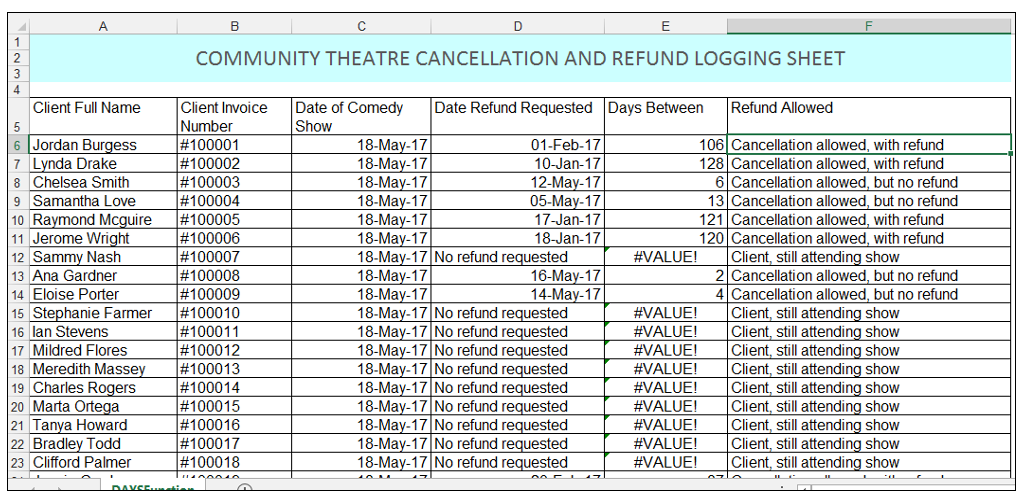 Community theater cancellation and refund log sheet in Excel Image 2