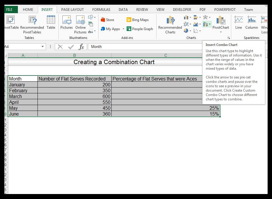 Insert Combo Chart