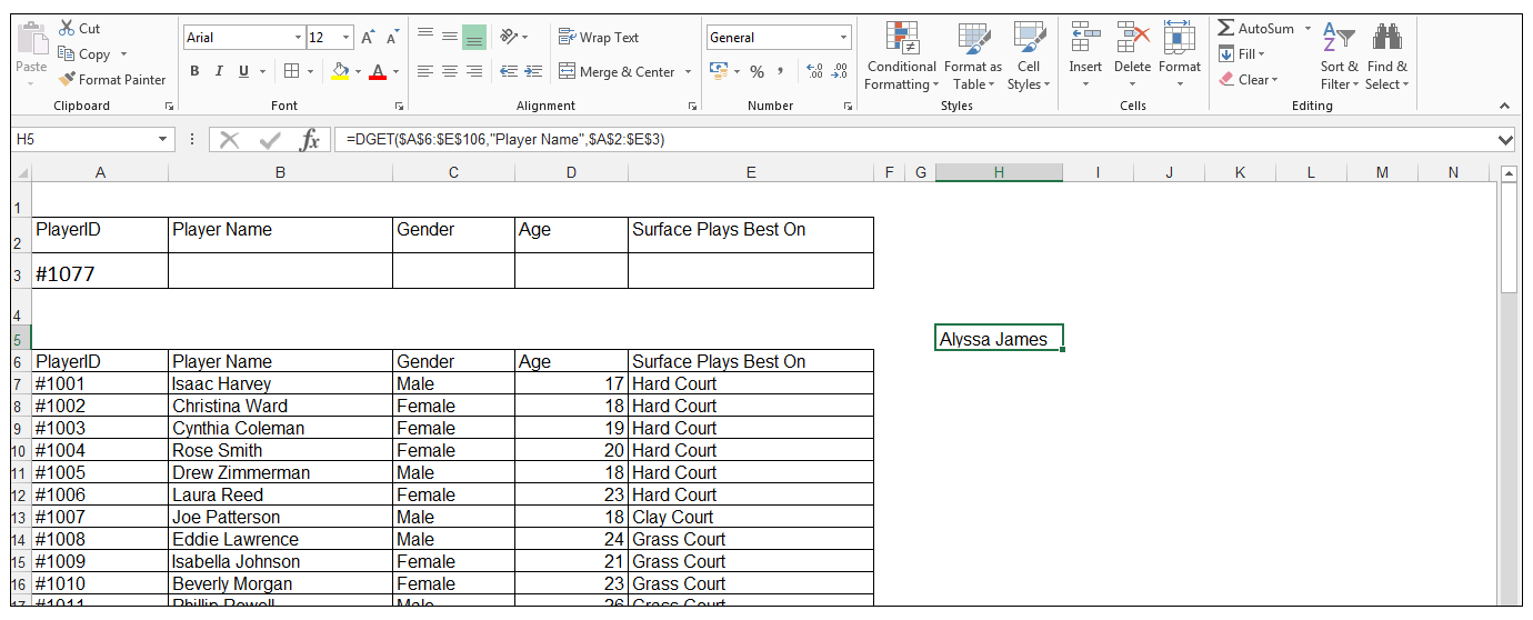 Output of using DGET function in a database (Excel database functions)