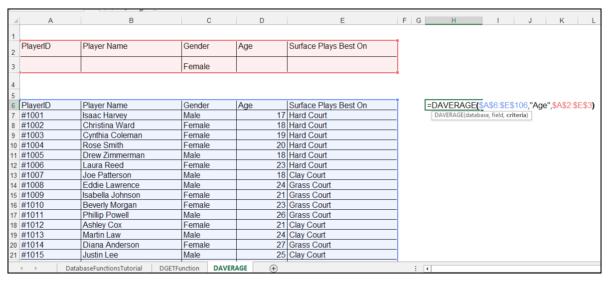Using DAVERAGE Function in an Excel Database