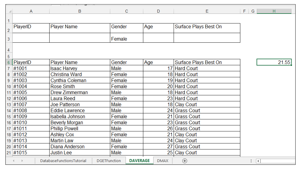 Output of DAVERAGE function in Excel
