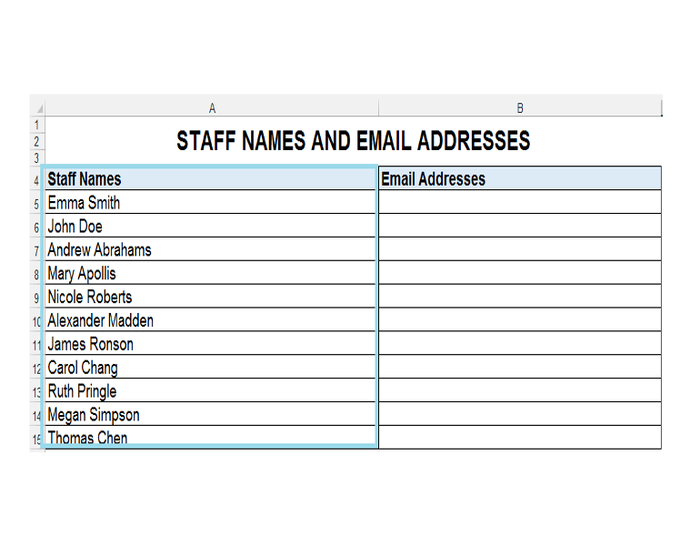 Staff Names and Email Addresses Database