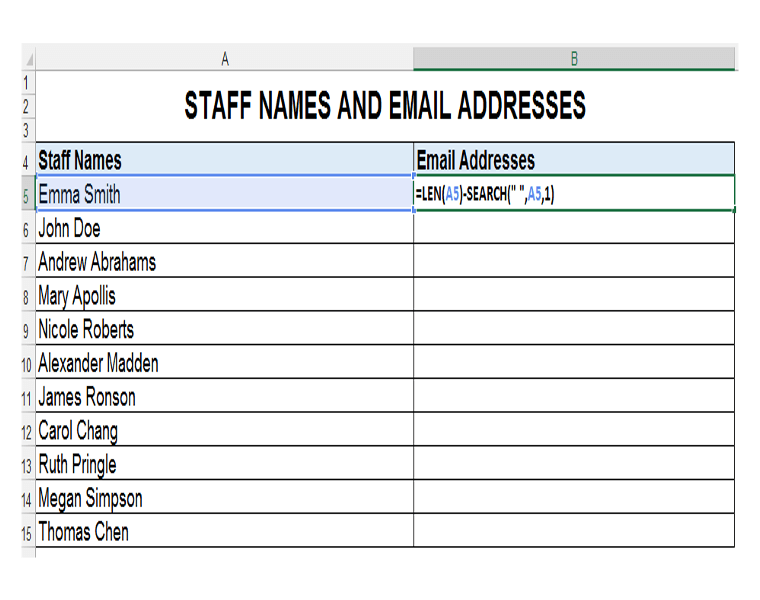 LEN and SEARCH Excel Functions Together