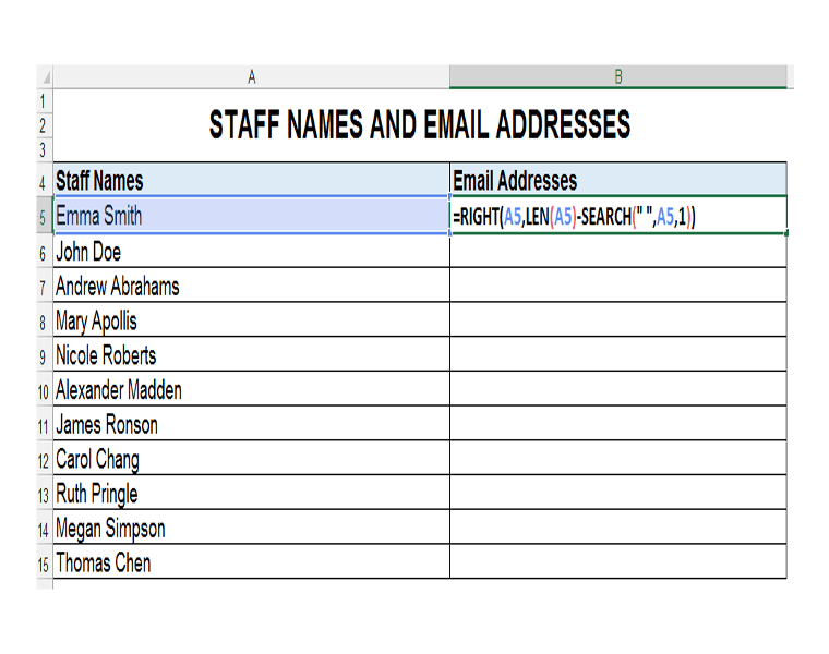 RIGHT, LEN and SEARCH Excel Functions