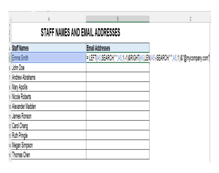 LEFT, Search, Right and LEN functions together in Excel Formula