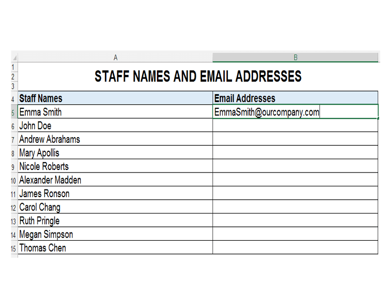 Staff Names and Email Address, Flash Fill Excel