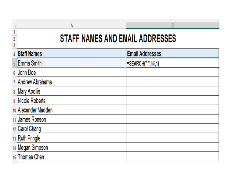Excel Search Function