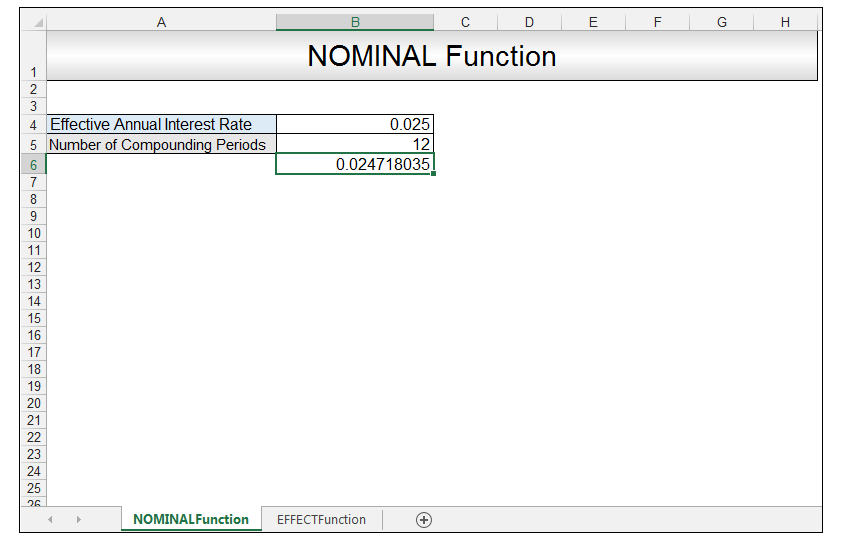 Nominal vs Effective Excel Formulas Image 5