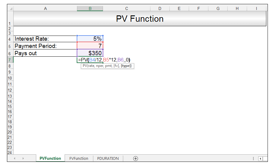 PV Function in Excel Image 2