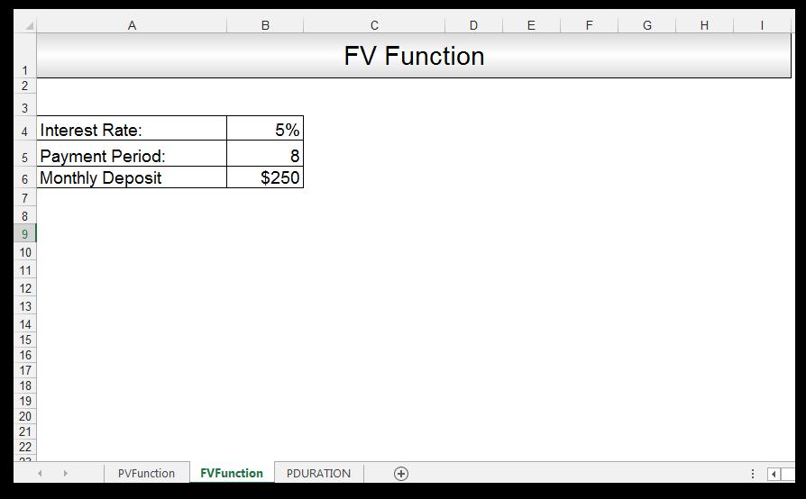 FV Function in Excel Image 1