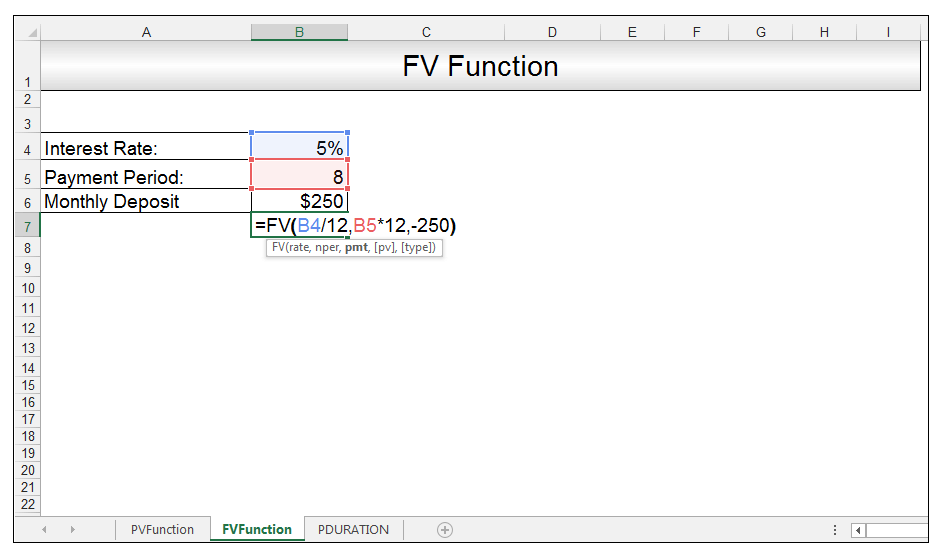 FV Function in Excel Image 2