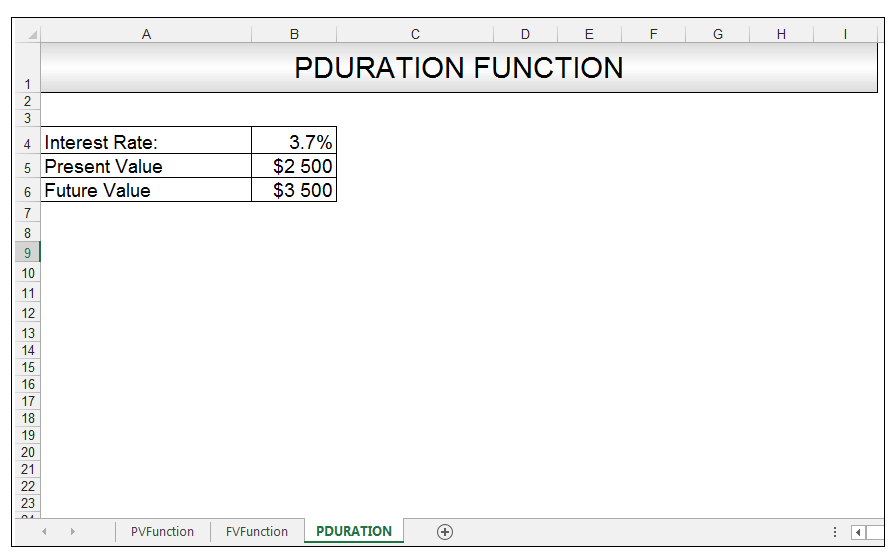 PDURATION Function in Excel Image 1