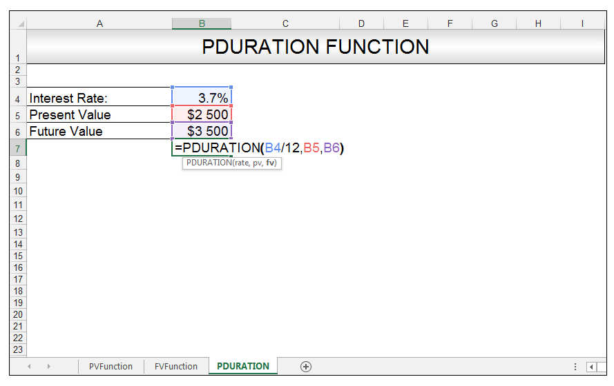 PDURATION Function in Excel Image 2