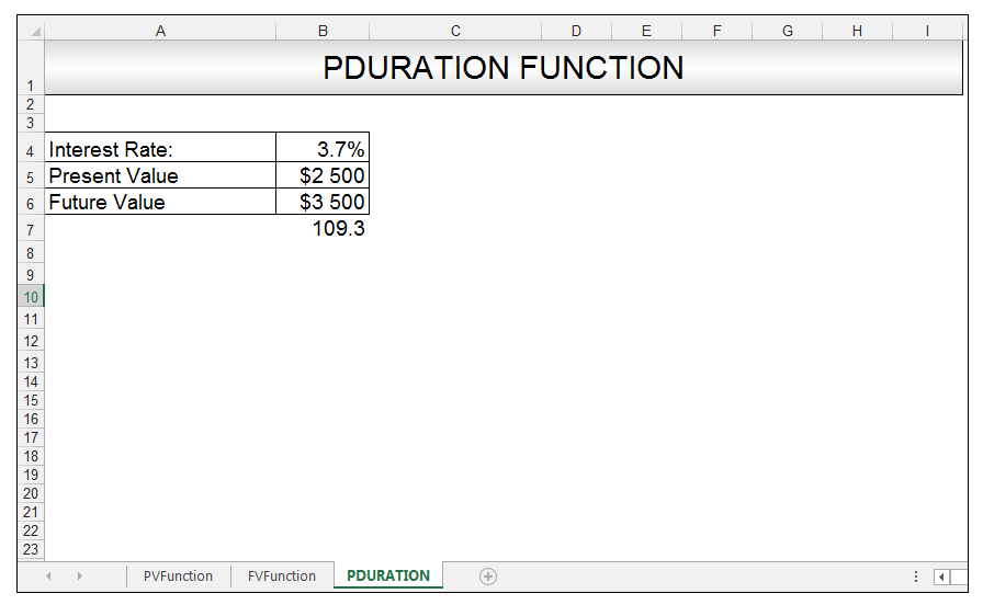 PDURATION Function in Excel Image 3