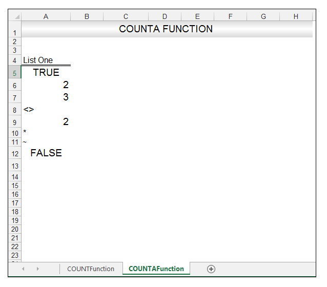 Excel CountA Function Image 1