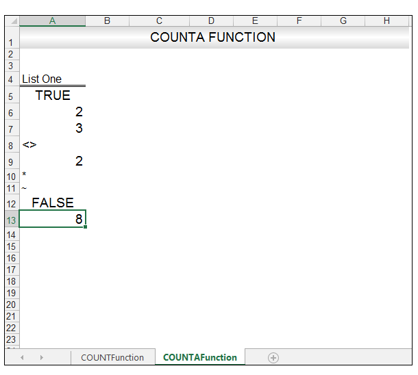 Excel CountA Function Image 3