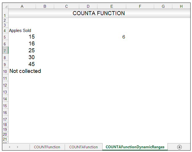 Excel COUNTA Function Image 11