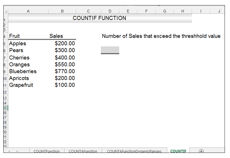 Excel COUNTIF Function Image 1