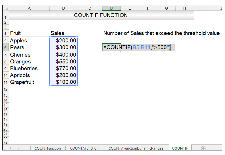 Excel COUNTIF Function Image 2