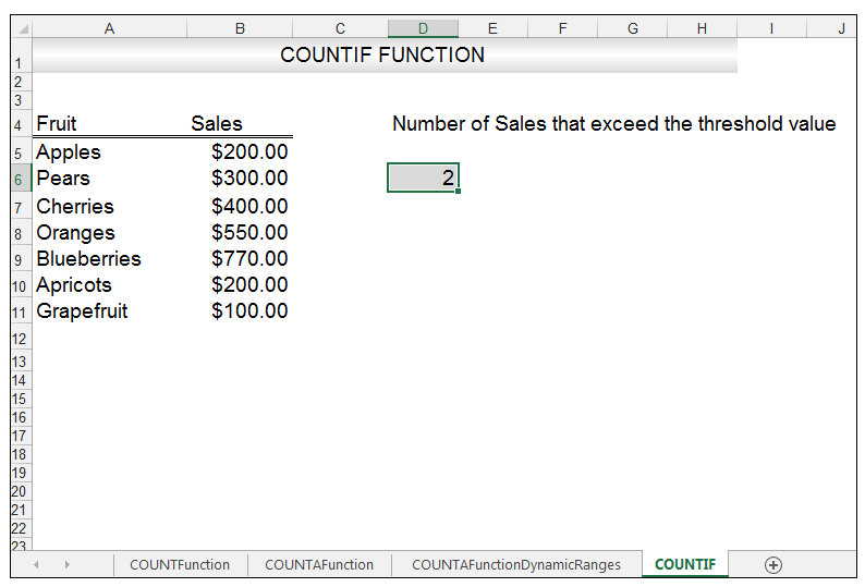 how to use countif function