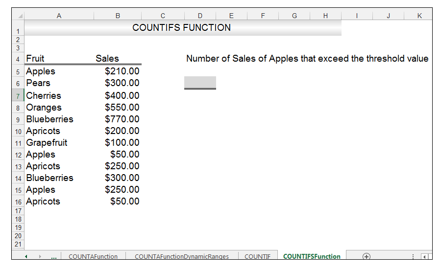 Excel COUNTIFS Function Image 1