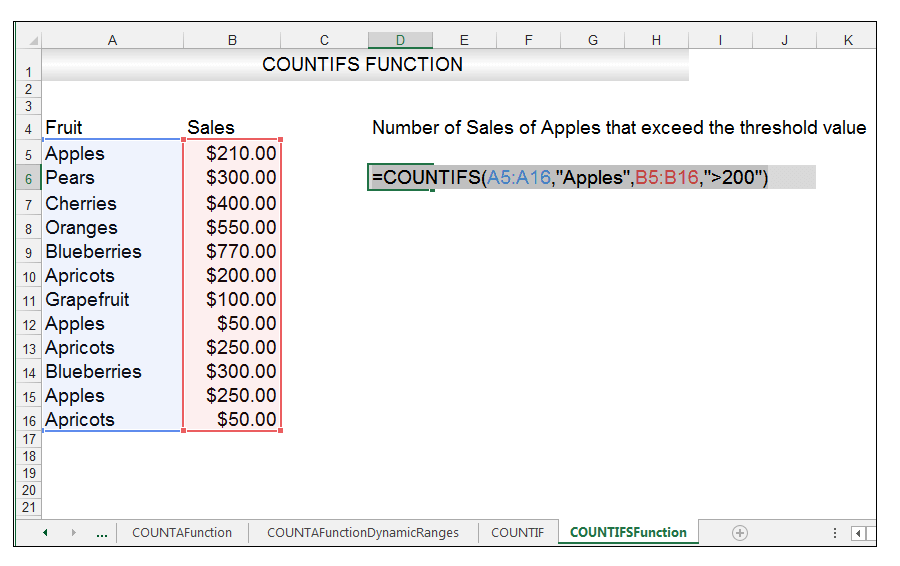 Excel COUNTIFS Function Image 2