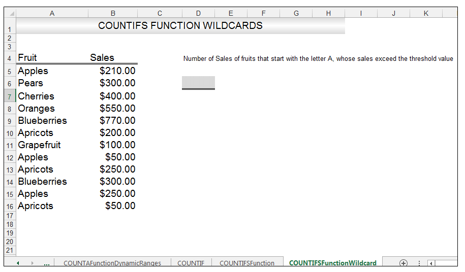 Excel COUNTIFS Function Image 3