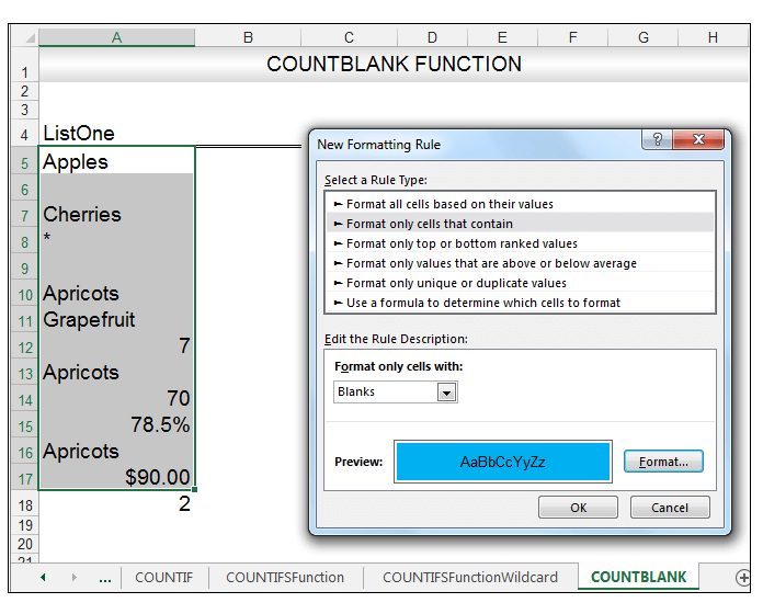 Excel COUNTBLANK Function Image 12