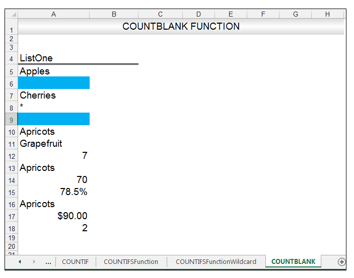 Excel COUNTBLANK Function Image 13