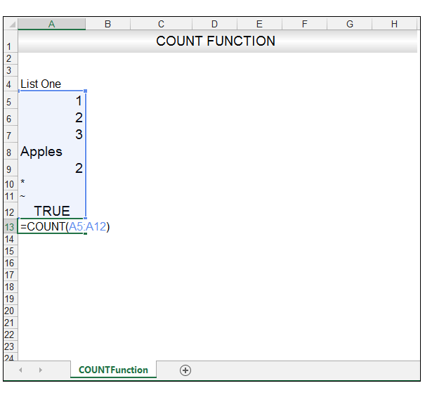 Excel Count Function Image 2